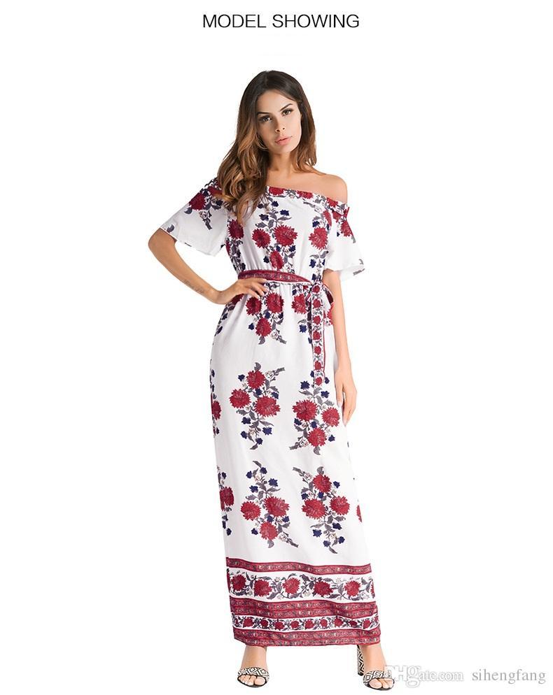 Compre Verano 2018 Mujeres Vestidos Casuales Bohemia Estampado De Flores Hombro Halter Vestidos Lady Beach Vestidos Largos Con Cinturón Tamaño S Xxl A