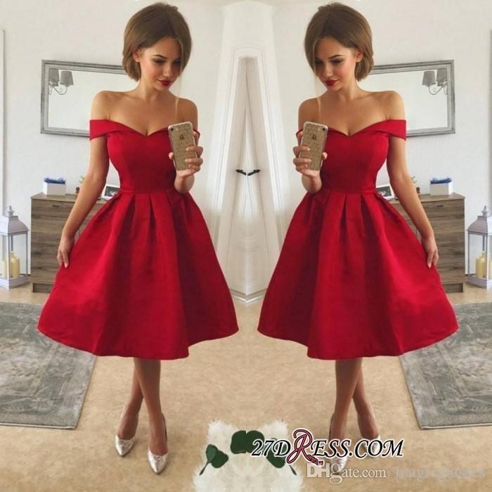 Einfache stil billig rote cocktail kleider aus schulter geräuchert satin knielänge a line prom party kleid