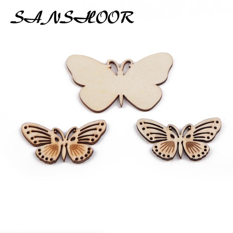 wholesale Cute Butterfly Natural Wooden Chips Craft Fit Handmade Painting Art For Children Toys Women Diy Jewelry 30Pcs/lot