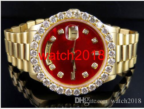 Najwyższej jakości Luksusowy zegarek 18k Mens Yellow Gold Daydate 36mm Red Dial Większy Diamond Watch 5.5CT Automatyczne Mechaniczne Mężczyźni Zegarki Nowe