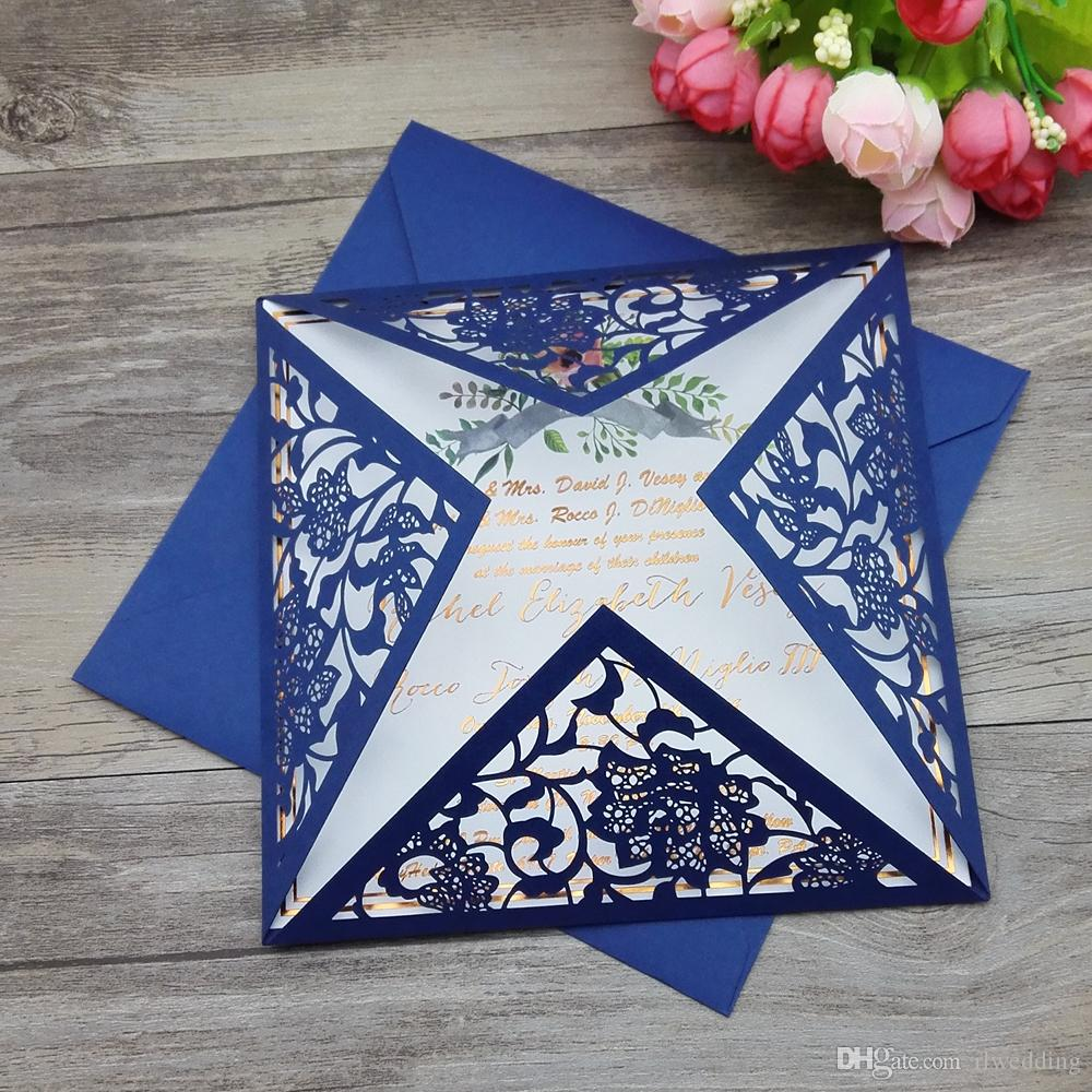 100 Pcs White Wedding Cards Laser Cut,Paper Invitation Card Birthday Party,Black Blue Color + Personalized Printing,Pack With Envelope