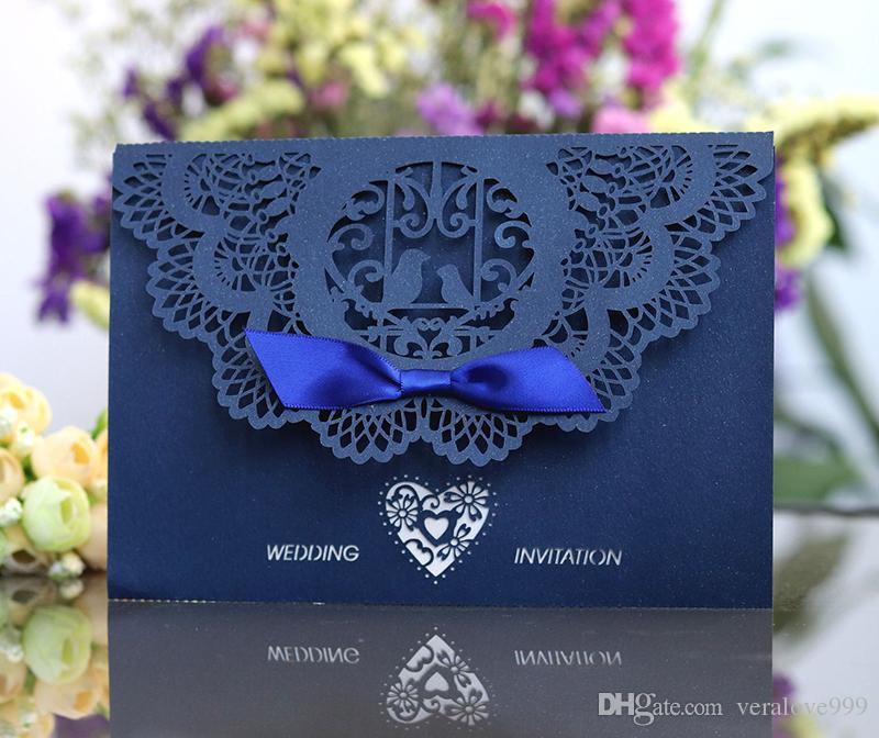 2018 حديقة أنيقة تحت عنوان البحرية الأزرق الليزر قطع بطاقات دعوات الزفاف، التبعي الزفاف الأنيق مخصص الداخلية