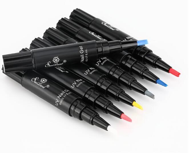 5pcs / lot gros One Step Lacquer Gel ongles Peinture Vernis stylo 3 en 1 Couleurs Nail Gel Polish Facile à utiliser Pas besoin de base Couche de finition Primaire