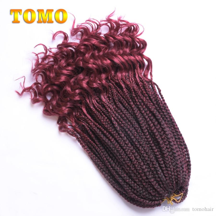 18Inch Long wavy Ends Crochet Braids Burgundy Synthetic 3X Box Braids Black Or White Woman Ombre Braiding Hair Extensions 22Strands/pack