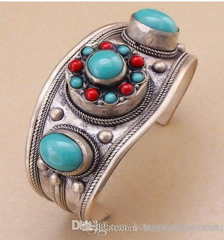 Unisex Gift Vintage Turquoise Bead Cuff Bracelet Tibet Silver Flower