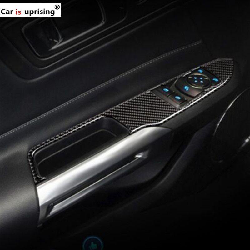 Pour Ford Mustang Fiber De Carbone De Voiture Intérieur Fenêtre Commutateur De Contrôle panneau Décor Cadre Couverture 2015 2016 2017 Car Styling Autocollant