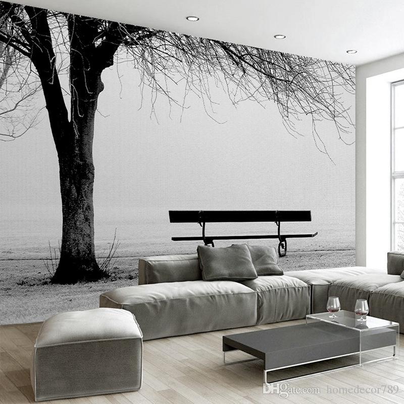 Acheter Personnalisé 3D Photo Papier Peint Murale Noir Blanc Grand Arbre  Banc Abstrait Art Peinture Murale Moderne Salon Canapé TV Toile De Fond  Décor ...