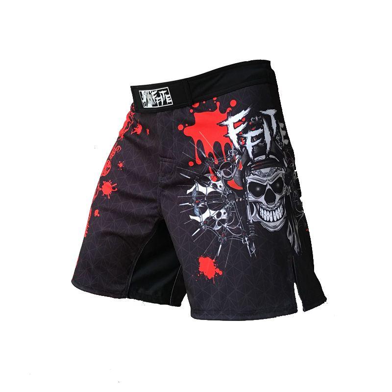 Ffite Hombres Pantalones de boxeo de impresión Mma Shorts Hombres Lucha barato Short negro Kickboxing Muaythai Pants Thai Boxeo Pantalones cortos Mma Trunks