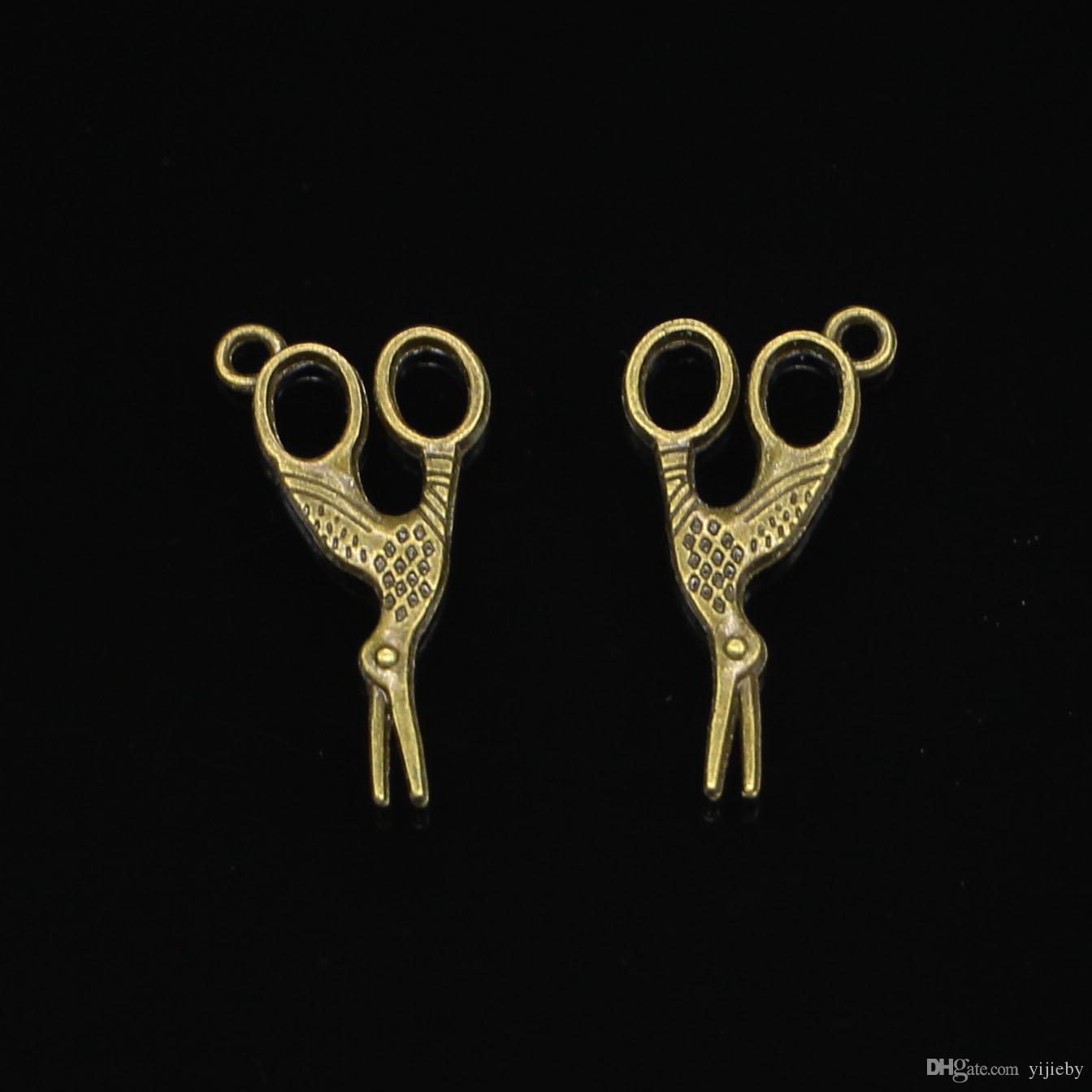 Античная бронза покрытием ножницы подвески кулон fit браслет ожерелье ювелирные изделия DIY делая аксессуары 28 * 15 мм