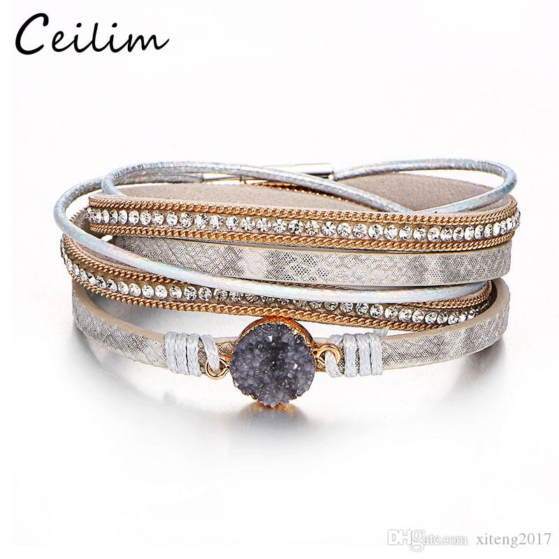 Vintage Crystal Stone Charm Bracelets & Bangle For Women Men Fashion Female Handmade Multilayer Leather Wristband Bracelet Wholesale