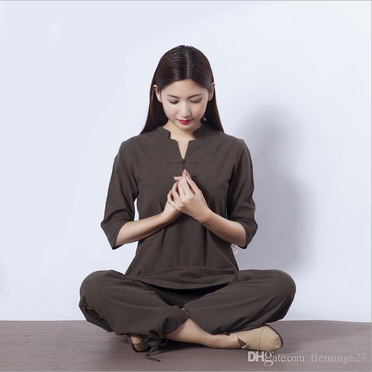 f724d0ffd56e ... De Remise En Forme Tenue De Sport En Plein Air Exercice Vêtements Coton  Lin Survêtements Yoga Veste + Pantalon Méditation Femme Kungfu Tai Chi  Costumes ...
