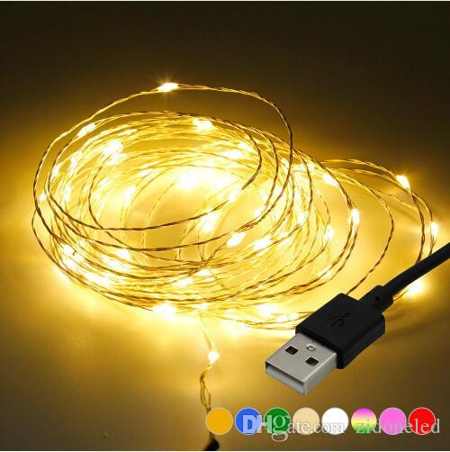 5M 16.5ft 50LEDs LED String lights USB Operated Copper Silver Wire Fairy Garland String Light for New Year Wedding Christmas Decoration