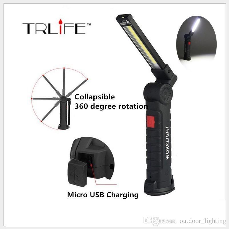 휴대용 5 모드 COB + LED 충전식 마그네틱 성화 유연한 검사 램프 코드가없는 워크 라이트 플렉시블 램프 캠핑