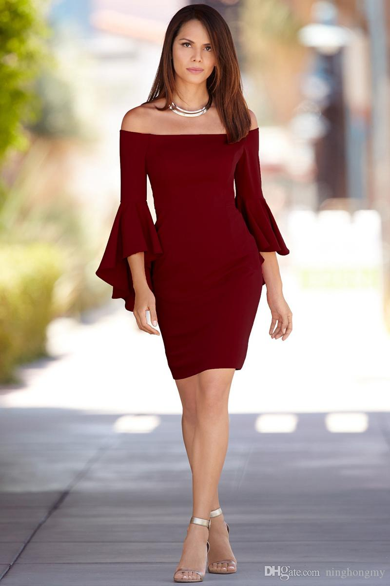 großhandel frauen kleiden 2018 beiläufige kleid reizvolle kleider plus  größenrobe billige kleidung china frauensommer ein wort schulteraufflackern  /
