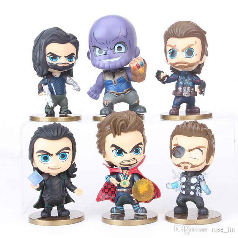 6pcs/set Avengers 3 Infinity War Plastic Doll toys 2018 New kids avenger Cartoon Thanos Captain America Thor Doctor Strange Figure Toy B