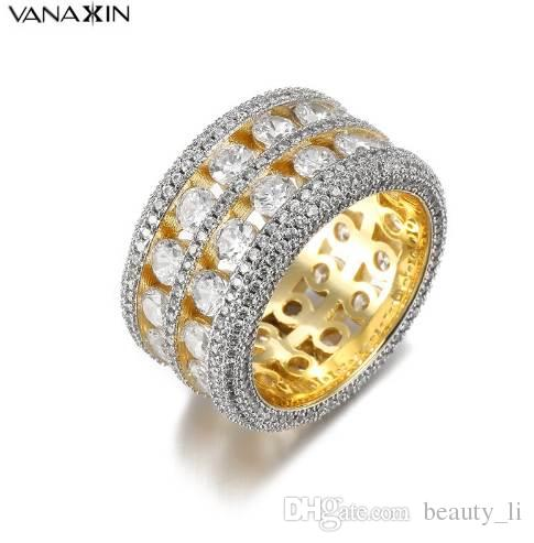 VANAXIN Bling Bling CZ Crystal Wide Ring Unisex Punk Hip Hop Rings Women & Men Zirconi Gold Silver Color Trendy Party Jewelry