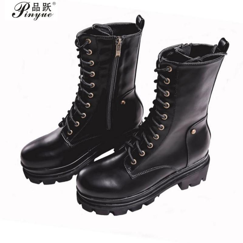 Retro Punk Rock Gothic Platform Chunky Block High Heels Ankle Boots Women Shoes Lace Up Knight Riding Boots Black 34--39