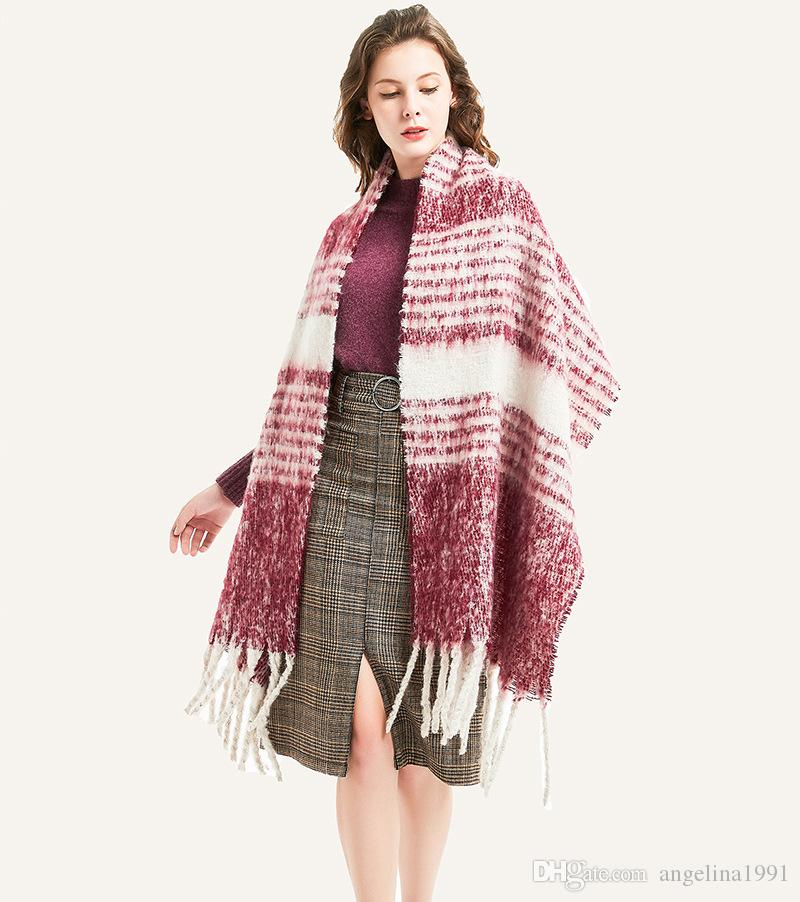 Plaid Striped Thick Cashmere Blended Warm Big Scarf For Women Vintage Shawl Winter Casual Pashmina Female Scarves Wraps
