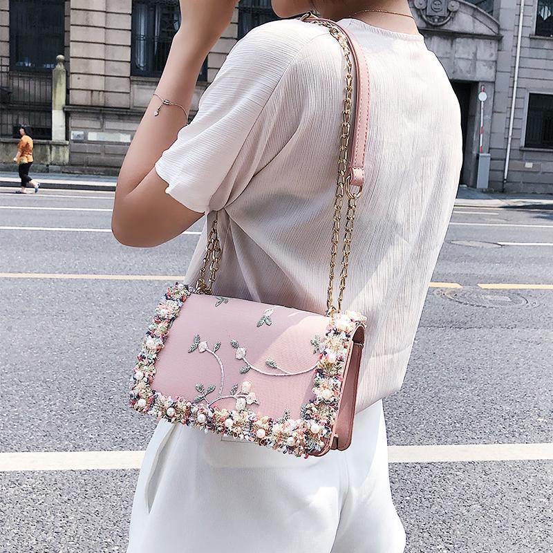 Кружева цветы женская сумка 2018 Новый сумочка высокое качество искусственная кожа милая девушка квадратная сумка цветок Жемчужина цепи плеча сумка для женщин