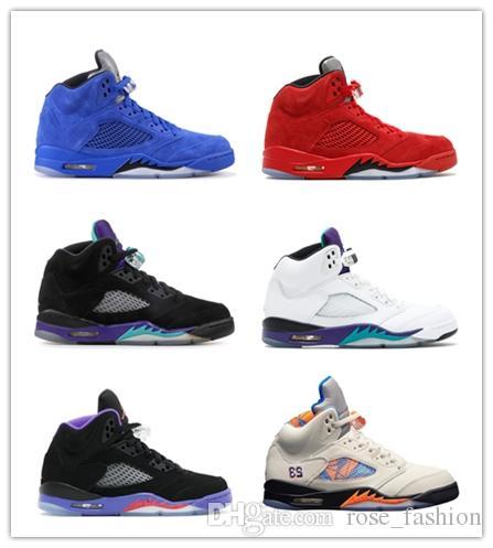 5 5s OG 2018 Men Mens Designer Basketball Sneakers Men's Red blue Suede Black Grape White Cement Wings Raptors Oreo 3M Sports Shoes