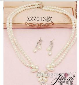 белый цвет Кристалл жемчужина свадьба невесты леди комплект ожерелье серьги thmbb