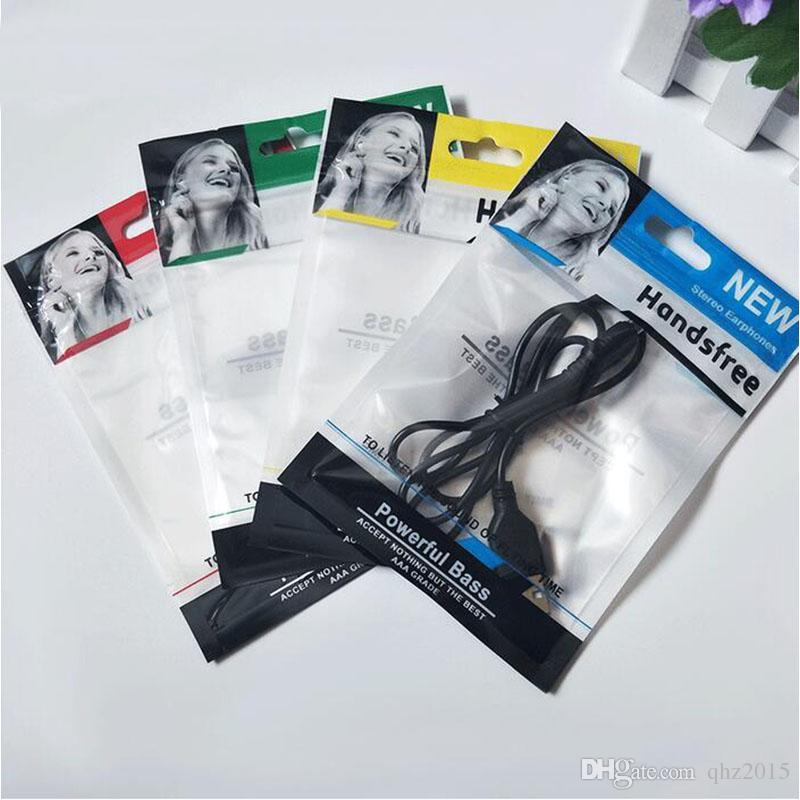 1500pcs / lot 10.5 * 15cm fermeture à glissière en plastique sac de vente au détail paquet paquet hang hole emballage casque casque opp sac d'emballage pour écouteurs stéréo