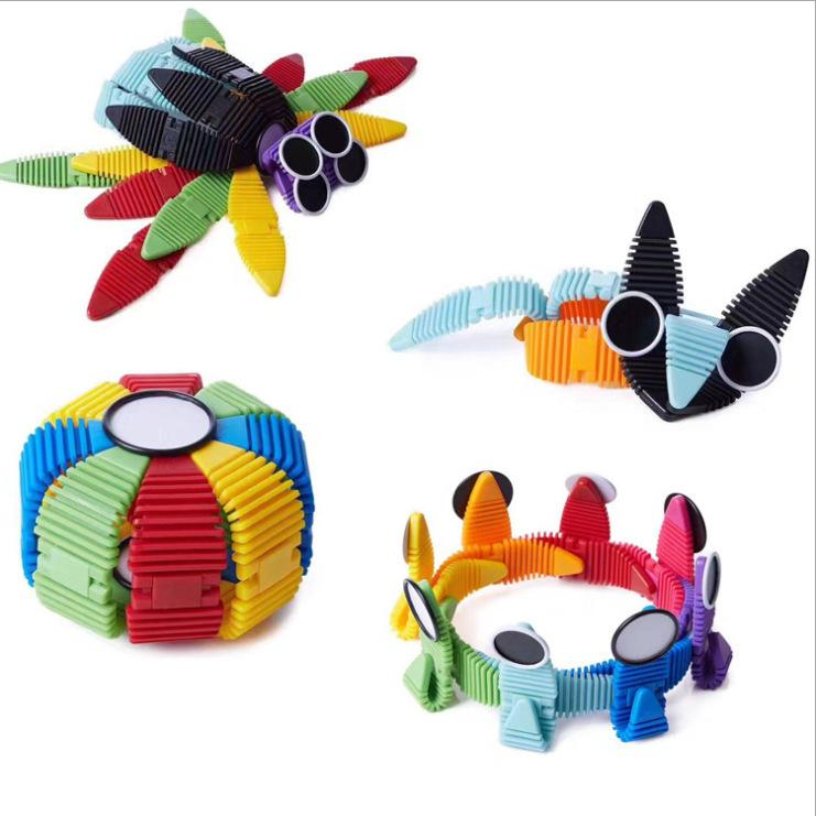 34pcs Flexible Magnetic Construction Kit Silicone Building Blocks Mix Colorful Magnetic Strips Metal Eyes Building Kits