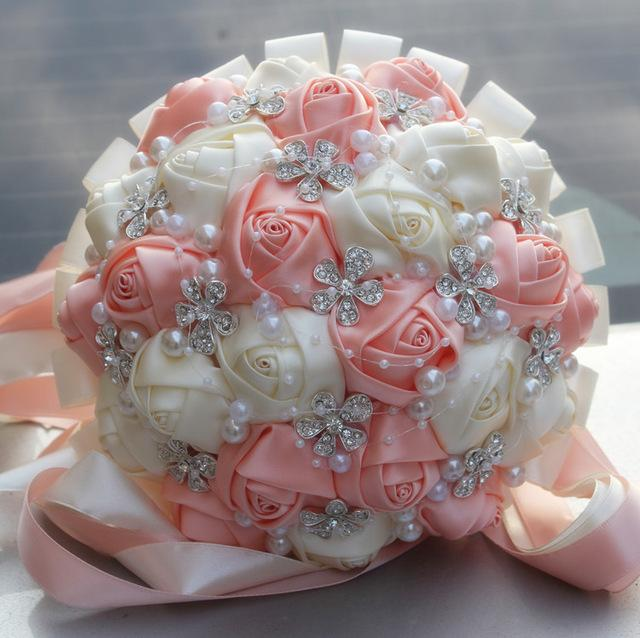 Fashion Coral Pink Ivory Champagne Satin Rose Festival Stitch Bouquets Custom Ribbon Wedding Bridal Bouquet Flowers Color Option W224a -6
