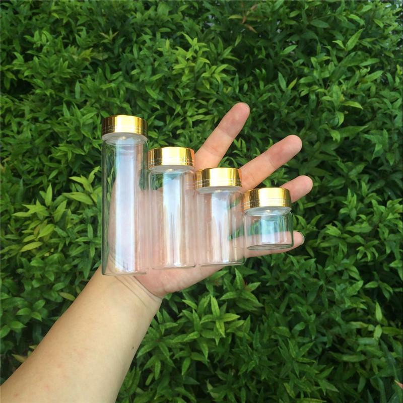 20ml 50ml 65ml 90ml Glass Storage Bottles with Golden Aluminum Cover Empty Gift Bottle Jars Party Decoration2