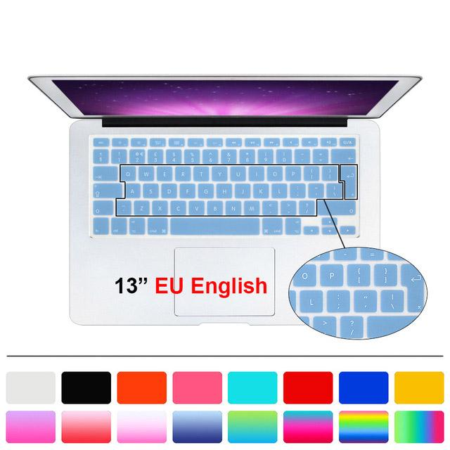 Silicone reino unido ue inglês keyboard cover capa film para macbook branco air pro 13 15 17 para mac book air 13 ""