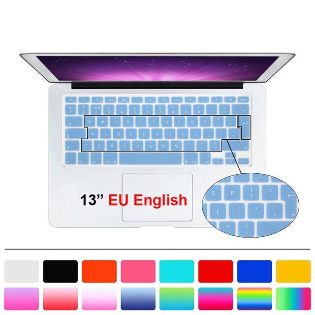 سيليكون المملكة المتحدة الاتحاد الأوروبي لوحة المفاتيح غطاء حامي الفيلم لماك بوك وايت اير برو 13 15 17 ل mac book air 13