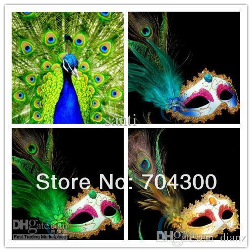 Ball Party Venetian Masquerade Pheasant Peacock Feather Masks Half Face Masks