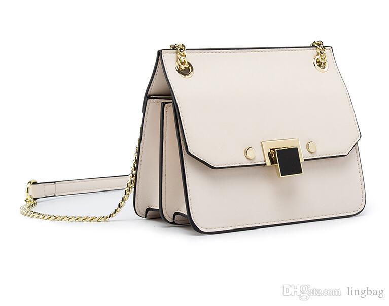 2019 yeni stil eğimli zincir çanta, moda basit tek omuz çantası organı paketi
