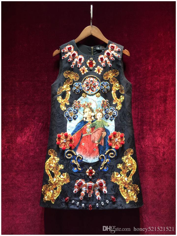 Роскошные взлетно-посадочной полосы дизайн женская o-образным вырезом без рукавов Мадонна цветок печати горный хрусталь Кристалл gem бисероплетение трапеция танк платье жаккардовые vestidos