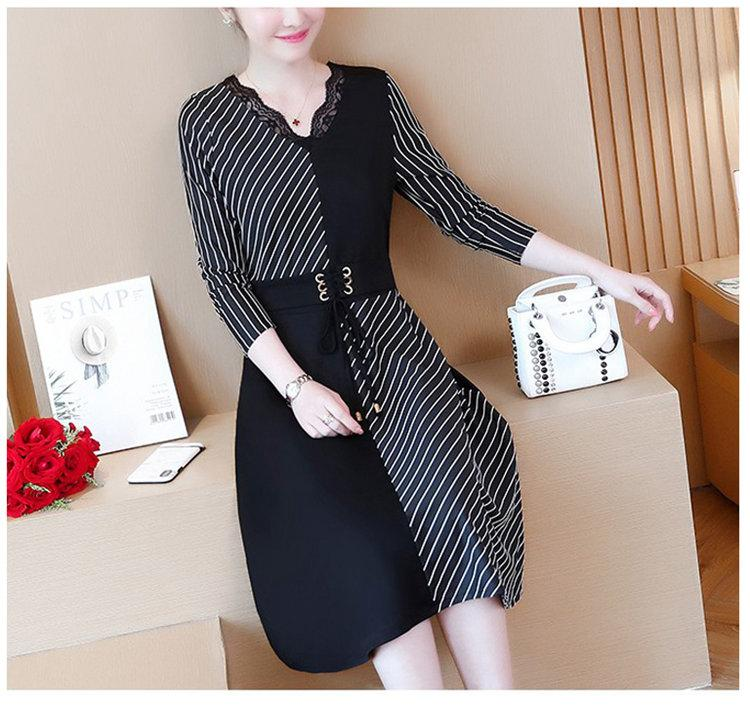 2019 Korean Fashion Women Dress Autumn Large Size Dresses Striped Patchwork Dress Ladies Lace V-Neck Long Sleeve Vestidos Robe Femme (8)