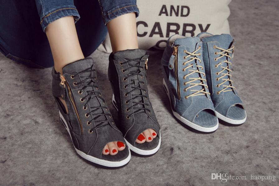 Brand Designer-high Quality Casual sports sandals Woman Wedges high heels Denim peep toe gladiator sandals women Blue shoes
