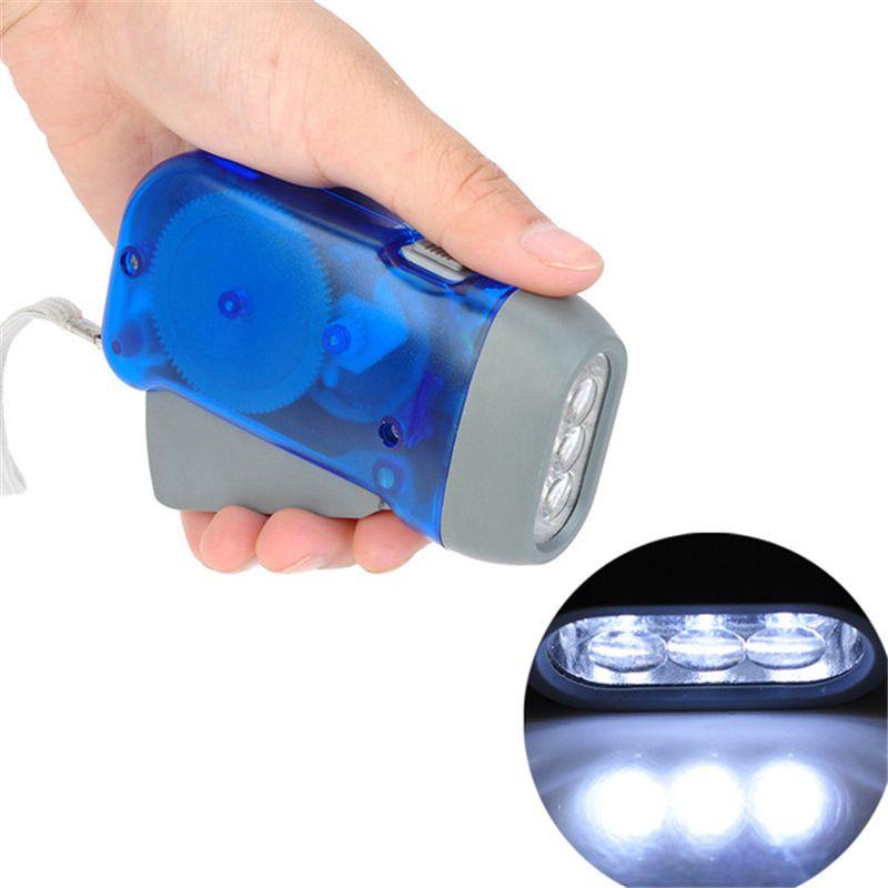 Turobayuusaku 3 LED Hand Pressing Dynamo Crank Power Wind Up Flashlight Torch Light Hand Press Crank Camping Lamp Light