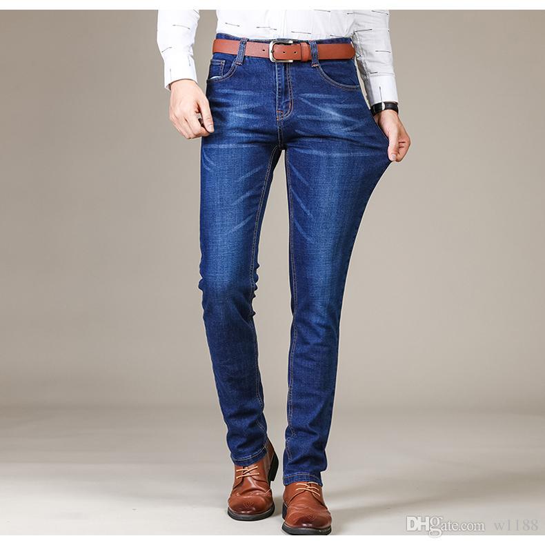 Brother Wang Brand 2018 Nuevos hombres de moda Jeans Casual de negocios Elásticos Slim Jeans Pantalones clásicos Pantalones de mezclilla masculinos 101