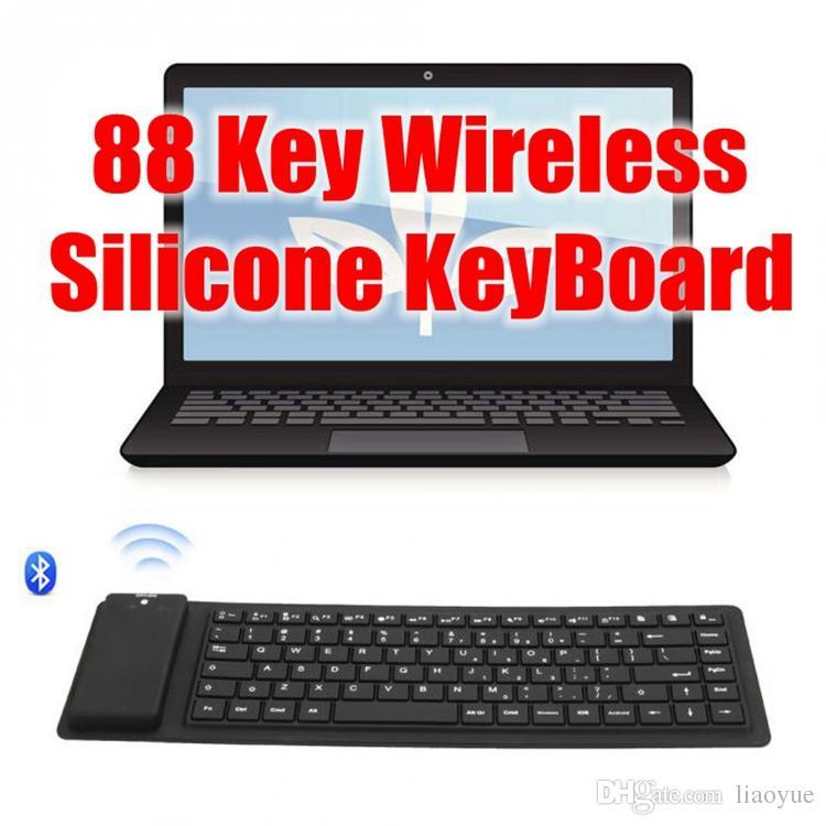 88 keys Silent No Typing Noise Silicone Flexible Foldable Waterproof Keyboard Wireless Bluetooth Slim Keyboard for Tablet PC Smart Cellphone