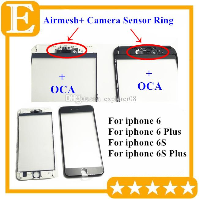 Front Touch Screen Panel Outer Glass Lens with Cold Press Middle Frame with OCA installed for iPhone 6 6g 6s plus