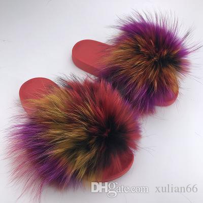 Shaggy slippers 2018 Luxury Women's Mink hair Slippers Fluffy Real Hair Designer Flip Flops Ladies Cute Sandal Fashion Furry Woman Hot Shoes