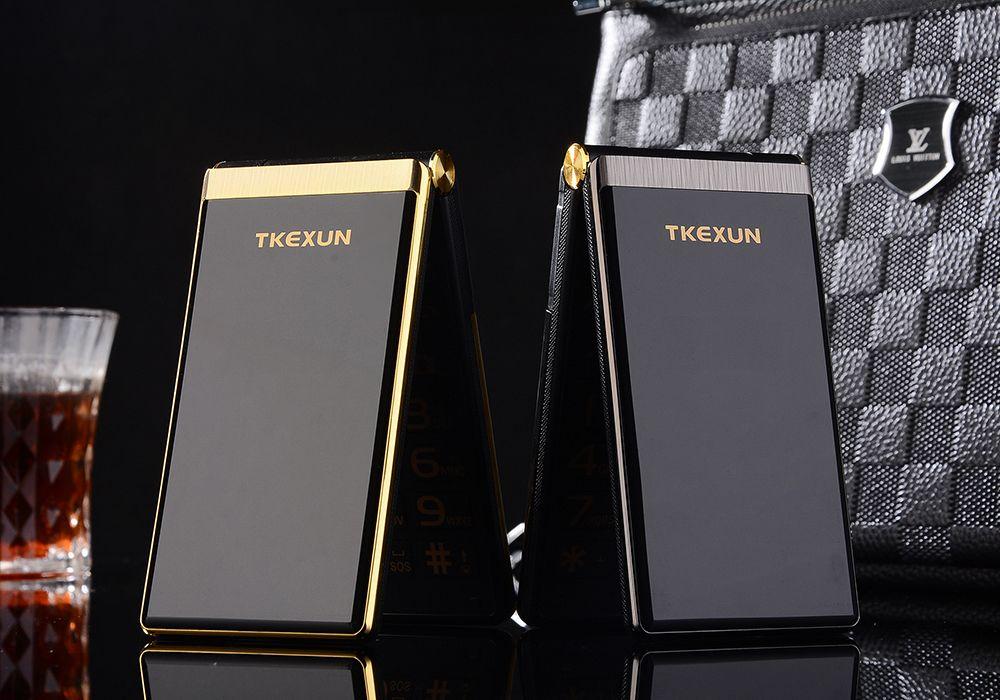 "Luxury Unlocked Touch big screen 3.0"" display Business flip quick sos key metal body senior men dual sim card mobile cell phone"