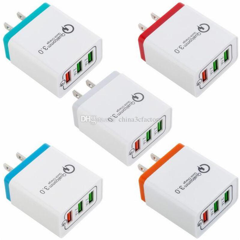 QC 3.0 3-портовое зарядное устройство USB для телефона Быстрая зарядка us eu Быстрая зарядка QC3.0 USB-адаптер Зарядное устройство для мобильного телефона для iPhone samsung xiaomi