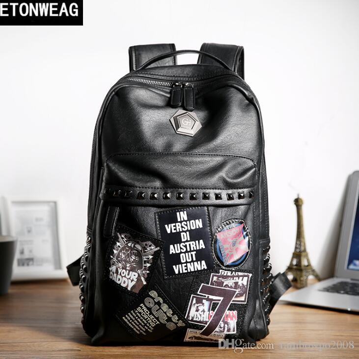Factory direct brand men bag personality rivet punk backpack fashion decoration student bag street fashion rivet leather fashion backpack