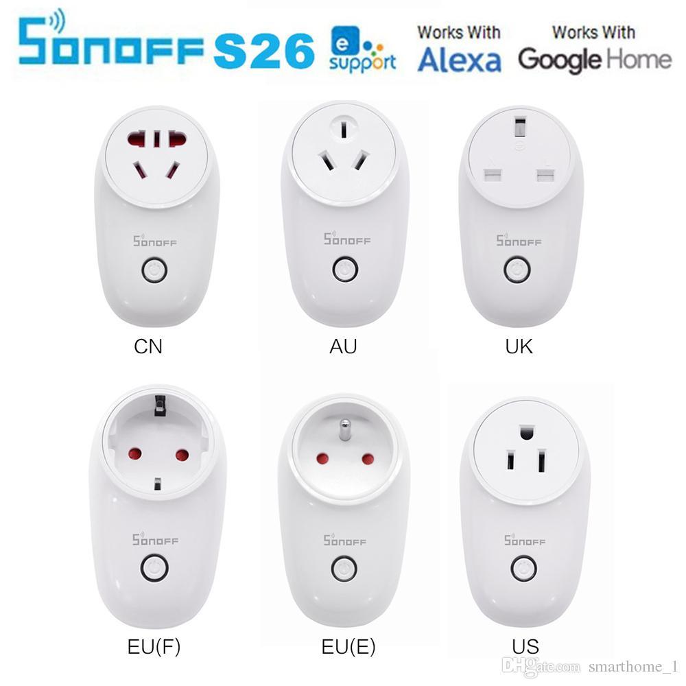 Sonoff S26 WiFi Smart Socket US/UK/CN/AU/EU Wireless Plug Power Sockets Smart Home Switch Work With Alexa Google Assistant IFTTT