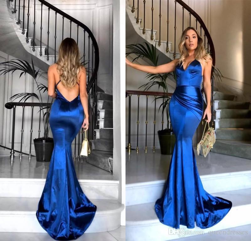 Abiti Da Sera Lunghi Blu.Acquista Ultimi Abiti Da Sera Lunghi Blu Royal Sirena Senza