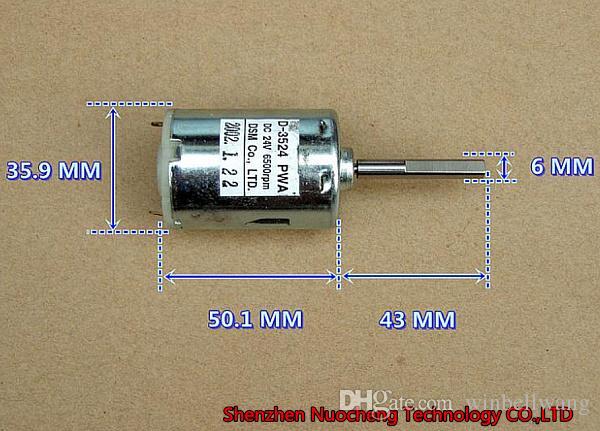 긴 샤프트 36 * 50mm 545 DC 모터 24V 6500r / min 큰 토크 저소음 고품질 모터 ~