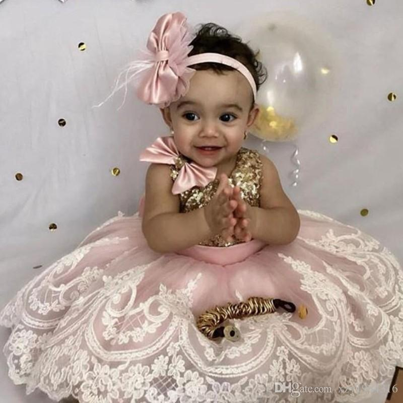 Lovely Baby Toddler Birthday Dress Jewel Neck Bows Lace Applique Tulle Ankle Length Flower Girls Dress Sparkly Sequins First Communion Gowns