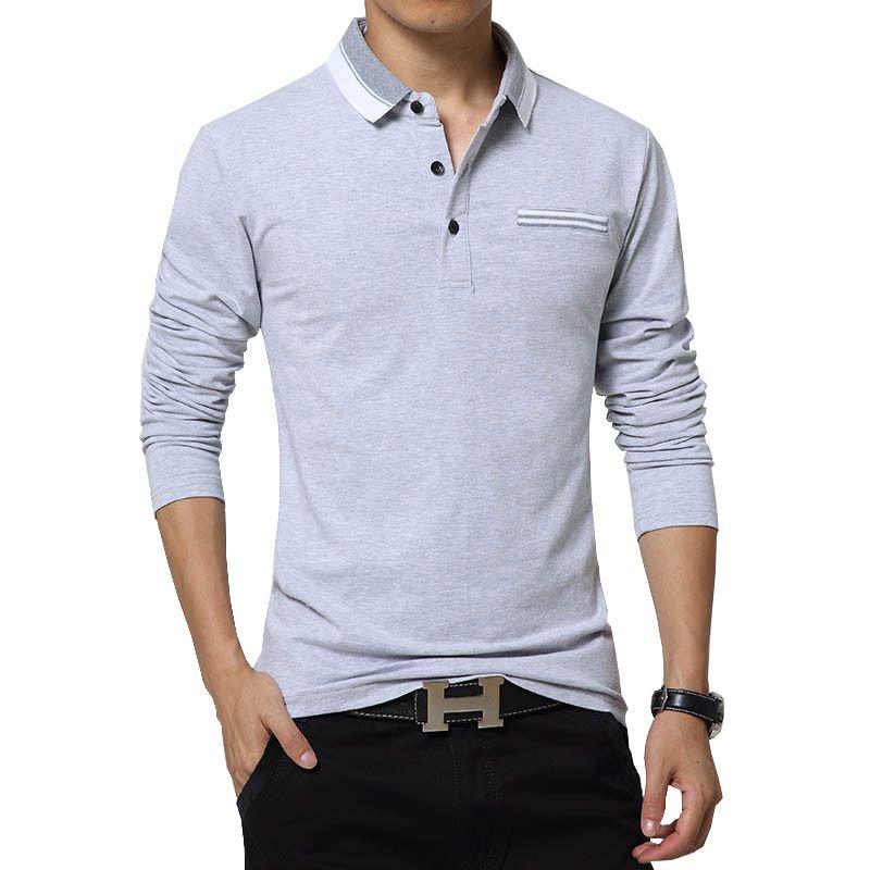 새로운 플러스 사이즈 남성 폴로 셔츠 3xl 4xl 5xl 긴 소매 캐주얼 그레이 블루 코튼 남자 폴로 셔츠 가을 겨울 피트니스 남성 풀오버 도매