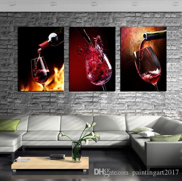 Moderne Küche Leinwand HD Gemälde 3 Panels Rotwein Tasse Flasche Wandkunst Ölgemälde Set Bar Esszimmer Dekorative Bilder